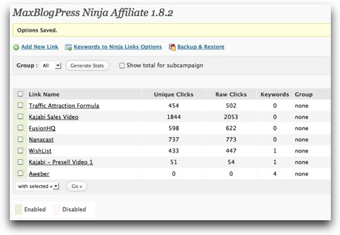 Ninja Affiliate Click Data