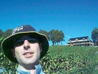 Yaro picking grapes in Tasmania