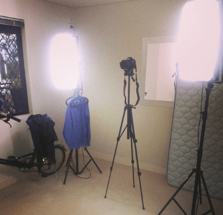 My Lightpro 110A lights and Canon EOS 60D in the middle.