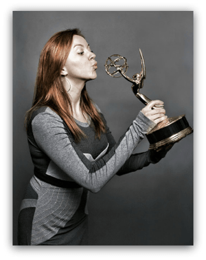 Natalie Kissing Her Emmy