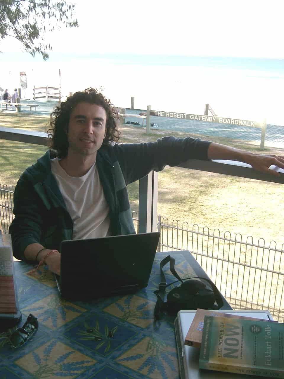 Yaro at 25 on the beach in Australia